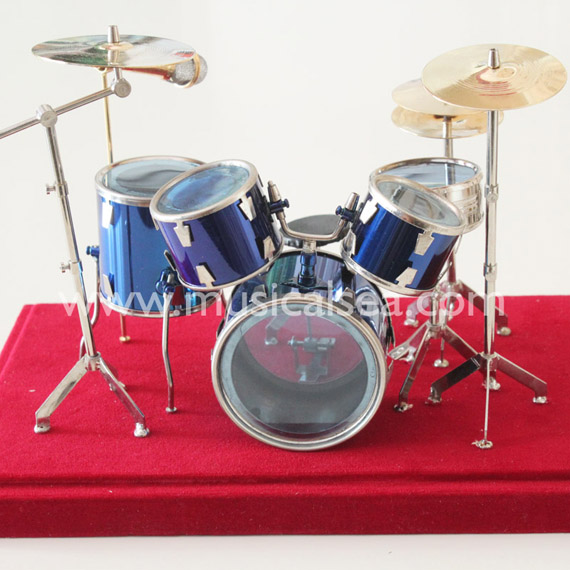 Miniature Blue drum set ornament and mini mus