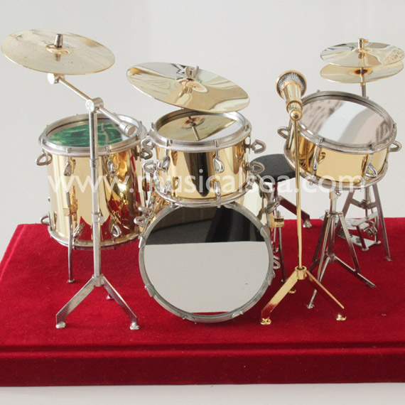 Golden Miniature Drum set metal crafts orname