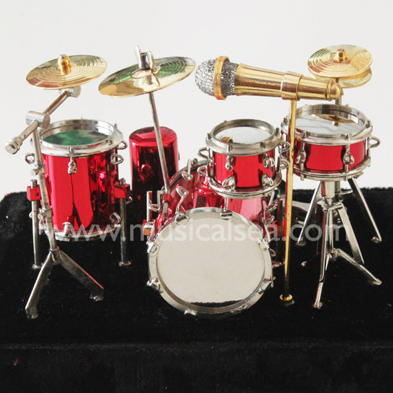 Red miniature drum set gifts metal craft