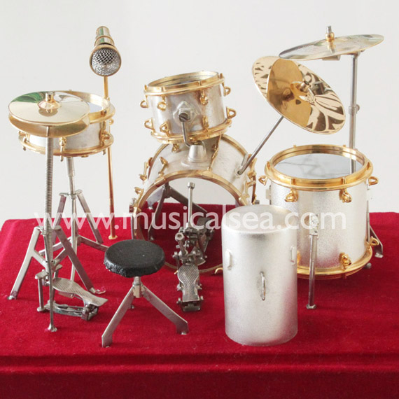 Silver miniature Drum set ornament musical in