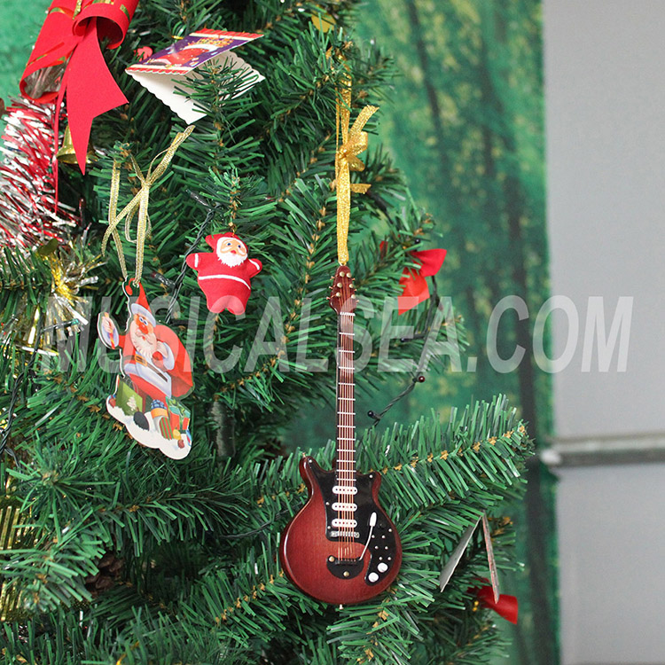 Mini guitar wooden christmas tree ornament fo
