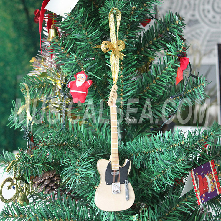 Miniature guitar christmas tree ornament for