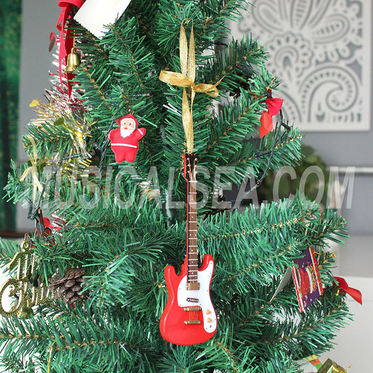 Miniature guitar unique christmas tree orname