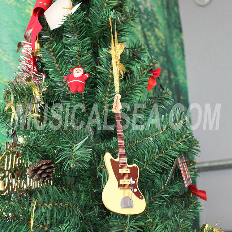 Miniature electric guitar wooden christmas tr