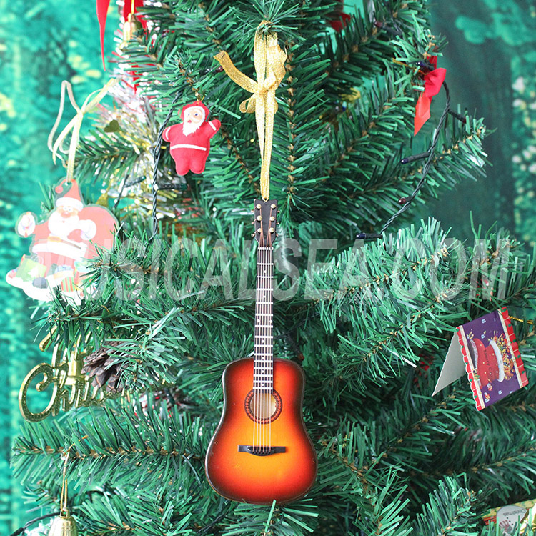 Mini guitar wooden christmas tree ornaments f
