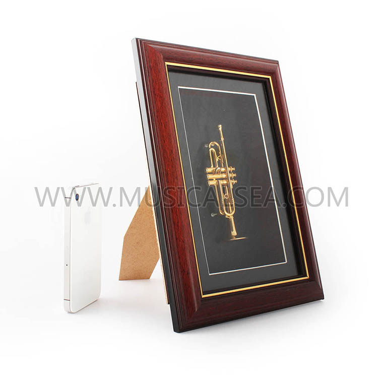 Miniature trumpet decorative photo frame