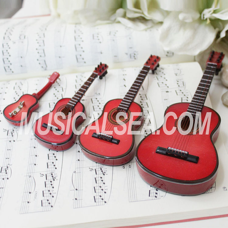 Mini guitar replica for wooden ornament musical instrument model toy for girl