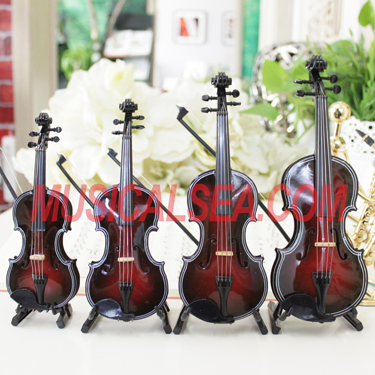 Miniature brown violin musical instruments fo