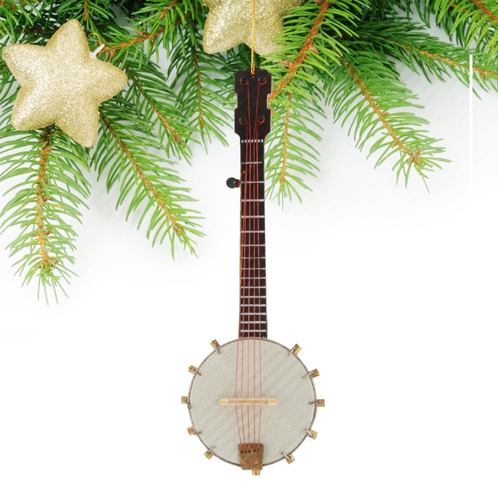Miniature Banjo Christmas tree ornament