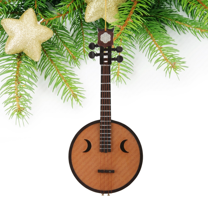 Miniature wooden moon guitar Christmas tree o