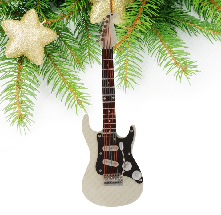 Mini electric guitar christmas tree ornament