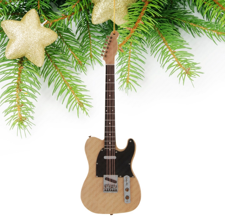 Miniature wooden guitar christmas tree orname