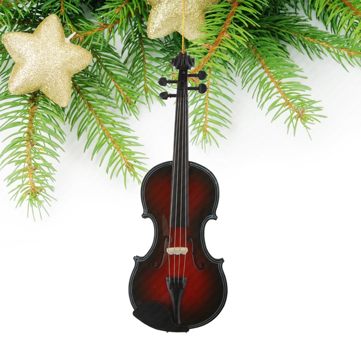 Miniature black and red violin christmas tree